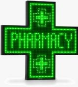 Pharmacy LED Cross Sign Monochromatic 900